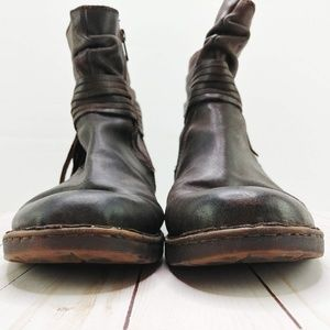 Born Shoes - Born | Cross Brown Distressed Leather Booties